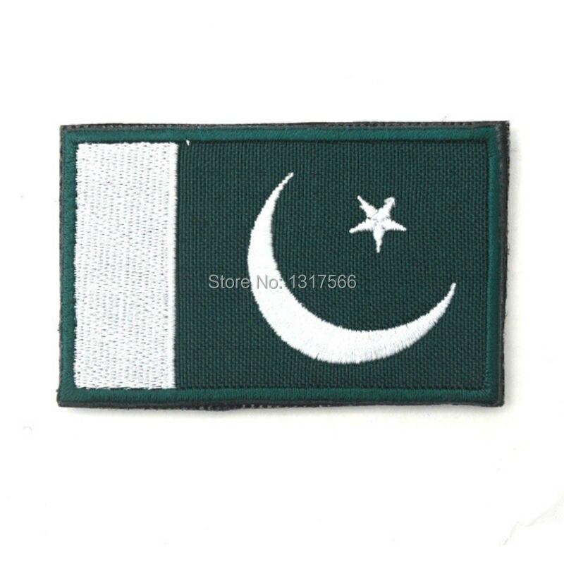Bandera de Pakistán insignia bordada militar táctica gorras y mochila insignias Bandera de Pakistán parches pegatinas brazalete de tela