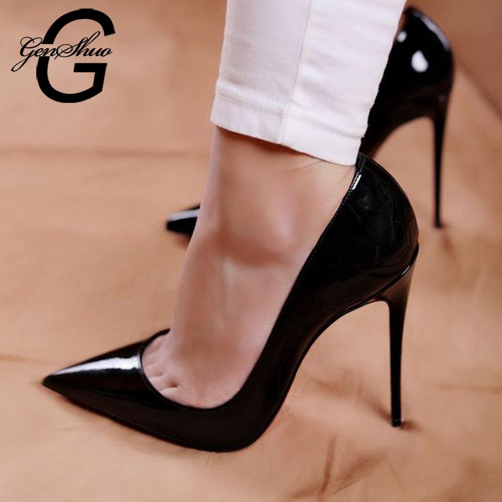 أحذية امرأة عالية الكعب مضخات 12 سنتيمتر Tacones أشار تو الخناجر تالون فام مثير السيدات أحذية الزفاف الكعوب السوداء حجم كبير