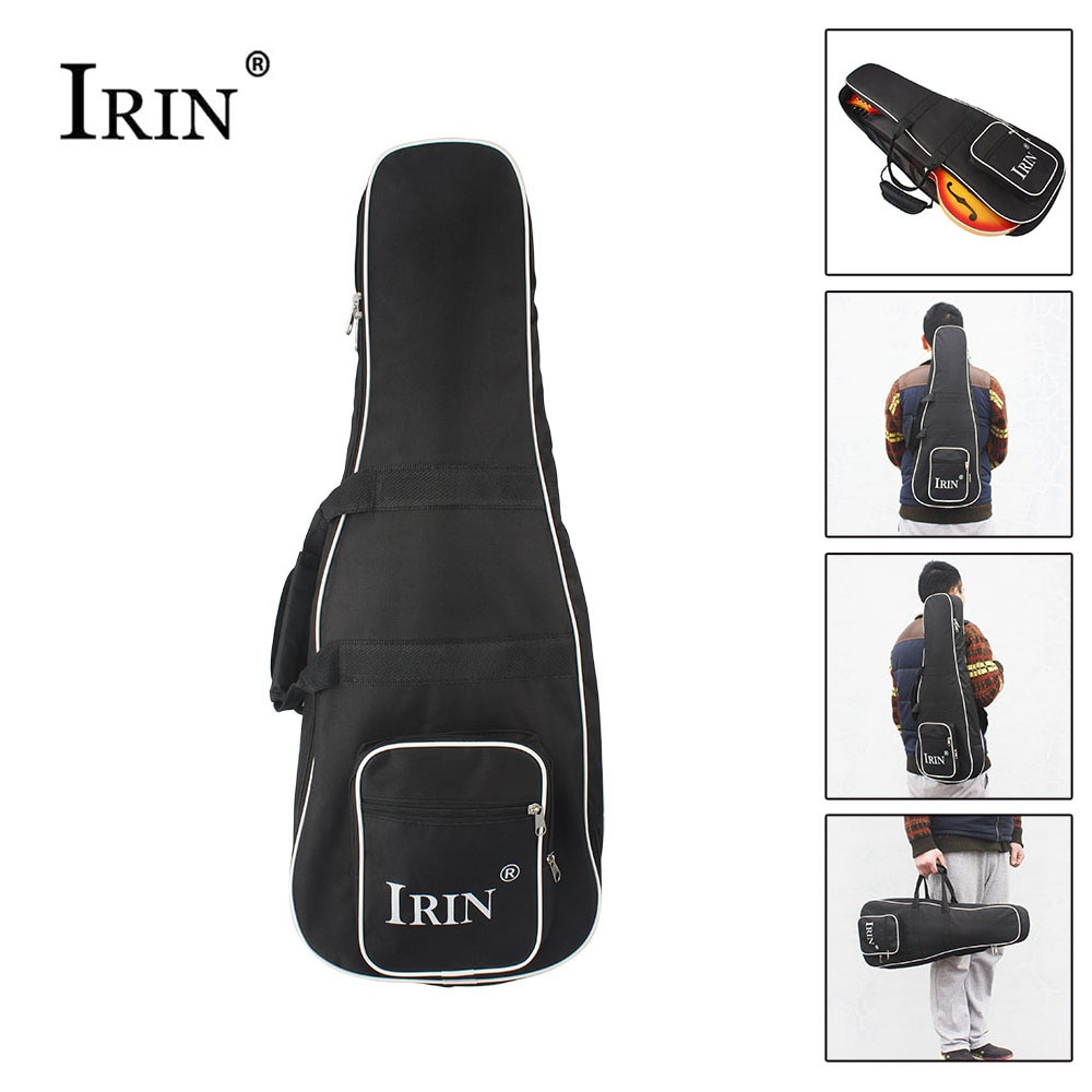 IRIN High Quality Black Mandolin Backpack Shoulder Double Strap Oxford Frabic Durable Washable Fashional Gig Bag Case Large Size