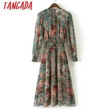 Tangada موضة المرأة الأزهار طباعة منتصف فستان مرونة الخصر طويلة الأكمام س الرقبة قطعتين مجموعة Vintage ماركة Vestidos XD40