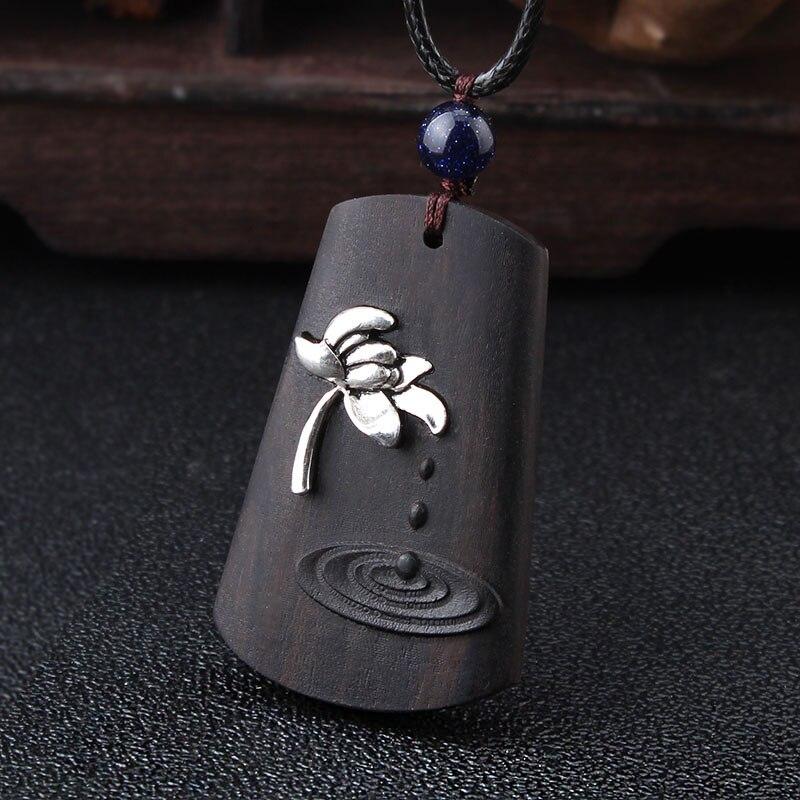 Weiyu vintage flor chunky pingente buda yoga colar budismo lótus preto madeira pingente colar feminino jóias presente