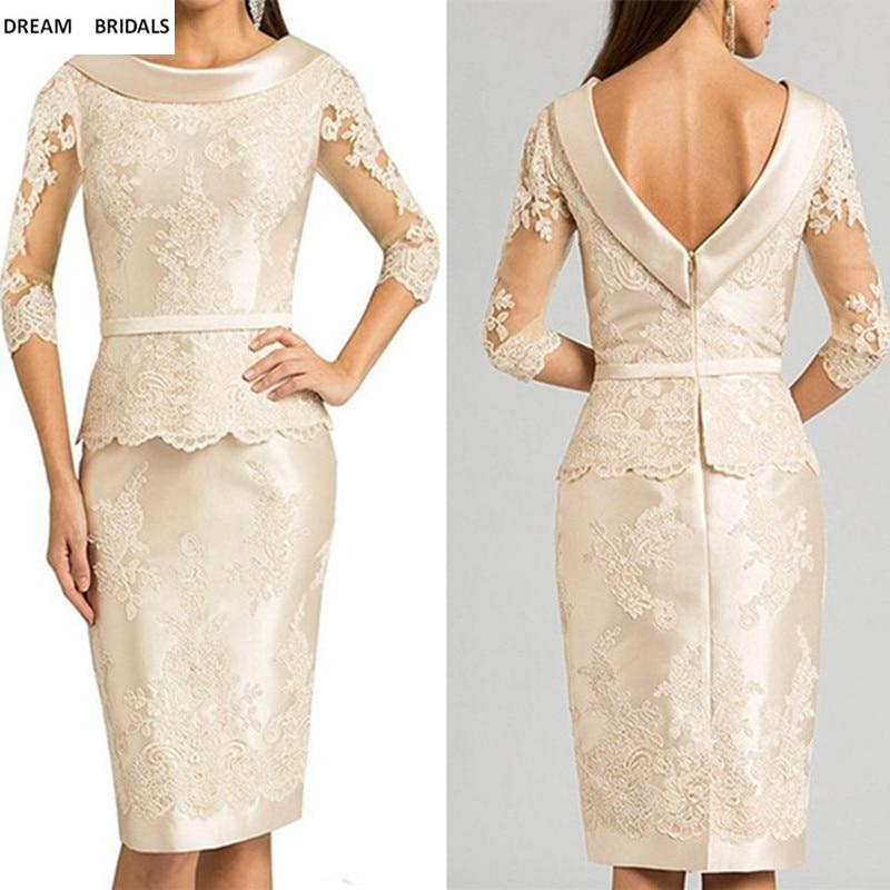 Scoop Lace Half Sleeves Mother of the Bride Dresses Sheath Knee-Length Vestido De Madrinha Short Dress Bridal