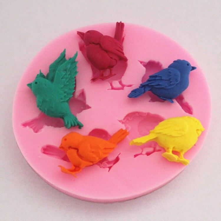 Moldes de silicona para pasteles de pájaros, jabón, chocolate, molde para hornear en la cocina, Sugarcraft FM065