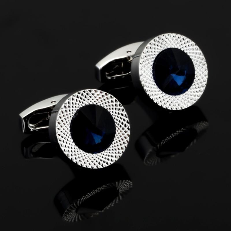 DY новые высококачественные модные мужские рубашки запонки роскошный дизайн Серебристые круглые синие хрустальные запонки