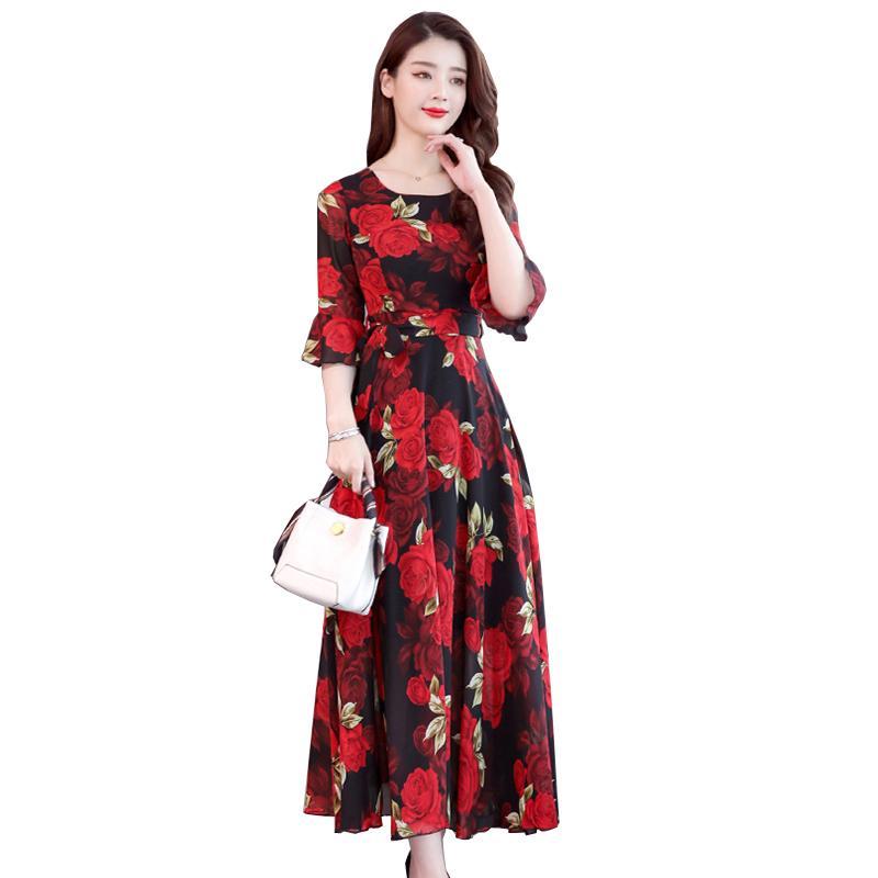 2019 New Fashion New Bohemian Rose Print O Collar Sleeves High Waist Long Dress