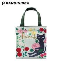 Floral Handbags Women PVC Large Capacity Waterproof Tote Bag Beach Boho Shopping Bag Harajuku Cat Printed Shoulder Bags