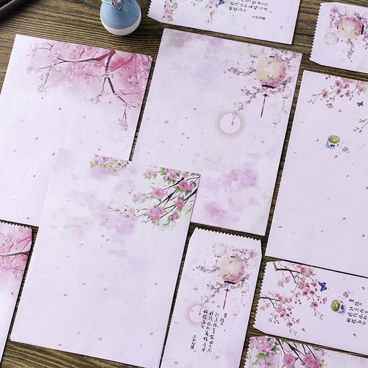 12 pçs/pçs/set 4 envelopes + 8 papel de escrita bonito rosa flores envelope para presente coreano papelaria