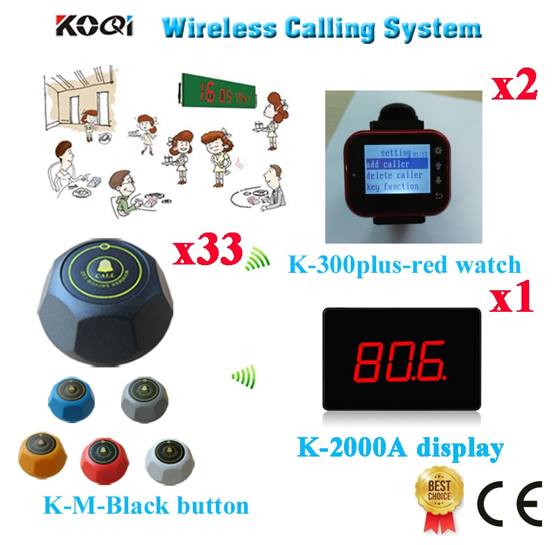 Wireless Restaurant Order Service System Ycall Brand 433.92MHZ Calling Waiter Pager Equipment(1 display+2 watch+33 call button)