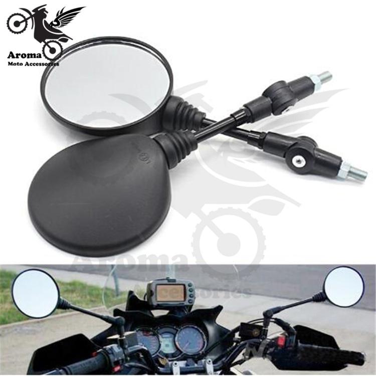 Retro negro universal plegable lateral de motocicleta espejos ronda espejo retrovisor para moto mm 8mm 10mm moto de la cruz para honda suzuki benelli vespa yamaha Kawasaki z900rs z650 ATV de espejo suciedad pit bike retrovisor moto rcycle espejo