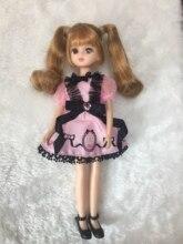 2018 new arrival plastic doll licca 1/6  (head+body+dress+shoes)