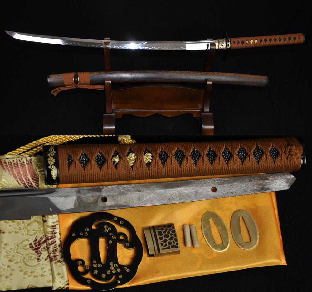 1095 espada SAMURAI japonesa KATANA arcilla completa TANG hoja templada hierro tsube muy fuerte hualee madera saya personalizado