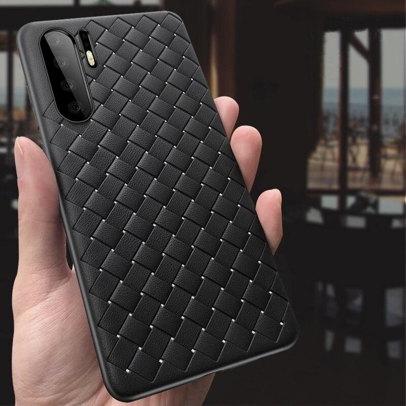 Fundas tejidas para Huawei P30 Pro, funda suave de malla tejida de silicona para Huawei P20 Mate 10 20 Pro 20X, funda para teléfono