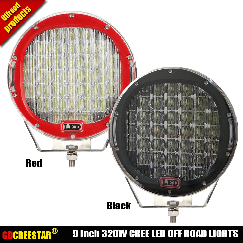 Luces Led todoterreno redondas de 320W y 9 pulgadas con cubierta IP67 luces led superbrillantes de alta potencia para conducción nocturna x1pc envío gratis