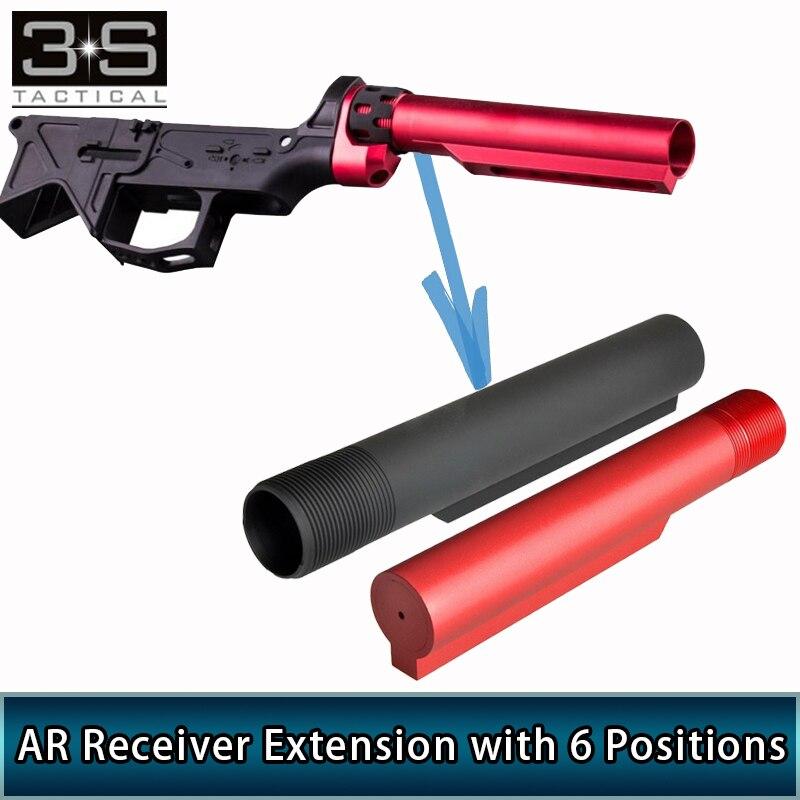CNC сплав Тактический 6 позиций штока трубы для страйкбола GBB AR приемник расширение Охотничьи аксессуары AR шток