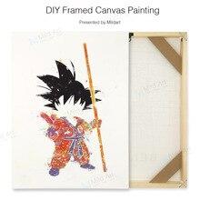 Pop Japanese Anime Dragon Cartoon Kawaii Goku DIY Natural Wooden Framed Canvas Poster Wall Picture Boy Kids Room Decor Painting