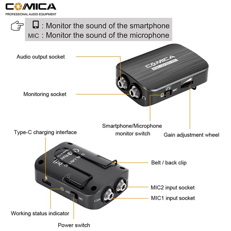 Comica CVM-D03 UC Dual-head Lavalier Lapel Microphone Omnidirectional Clip-on Interview Microphone for Type-c/3.5mm Smartphone enlarge