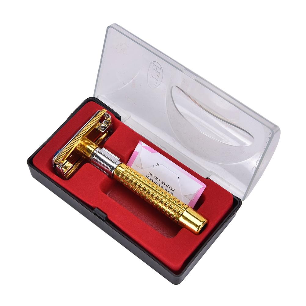 1 SET NEW Manual Beard Shaver Double Edge Blade Hair Razor With Box Silver Color Men Barber Rasoir Sharp Tool