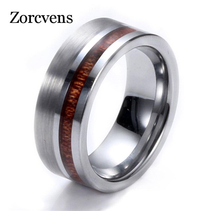 ZORCVENS Simple de alta calidad 8mm de madera redonda Color plata tungsteno carburo banda anillo de acero pesado Punk anillo para hombres anillos de fiesta