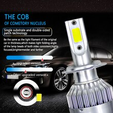 1x C6 LED Car Headlights 72W 8000LM COB Auto Headlamp Bulbs H7 LED H4 H11 H1 H3 H13 880 9004 9005 9006 9007 Car Styling Lights