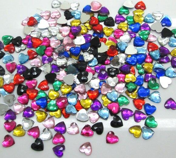 500 Uds. Decoración de corazón de acrílico mixto artesanía cabujón Scrapbooking adornos Flatback Nail Art cuentas para ropa DIY