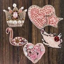 2 pièces couronne coeur étoile oiseau cochon perle patchs strass cristal rose Motif Applique broderie coudre sur des patchs pour vêtements sac