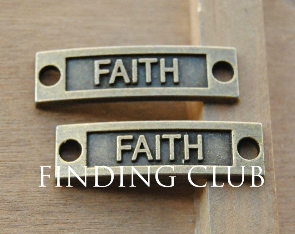15 Uds. Conectores de bronce con letras Faith, abalorios de inspiración, pulsera de Metal, collar, accesorios de joyería A342
