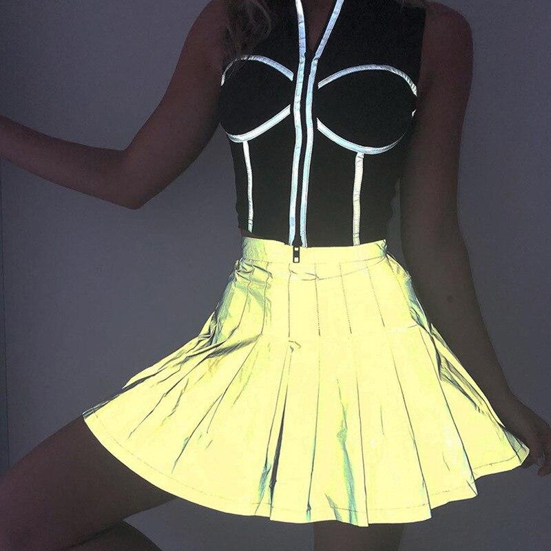 OMSJ, faldas reflectantes sexis para mujeres, Mini faldas de línea a para fiestas de plata, ropa de calle 2019, ropa plisada de cintura alta, ropa femenina