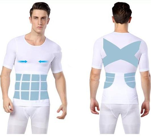 Mens Compression Shapewear Tshirt Body Shaper Chest Binder Shirt Slimming Waist Tummy Trimmer  Shapers Men Slim Body Top