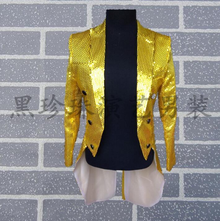 Желтый мужской смокинг дизайнерские мужские костюмы Сценические для певцов