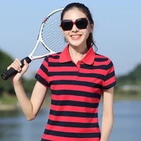 2018 fashion striped short sleeved t shirt female spring summer plus size thin loose casual tops turn down collar women t shirts
