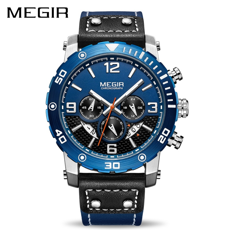 Reloj creativo MEGIR, cronógrafo deportivo para hombre, correa de cuero, reloj de pulsera militar, reloj de cuarzo para hombre