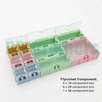 11pcsset component storage box ic components boxes smt smd wen tai 1 2 3 boxes kit 20setslot