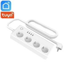 Tuya vie intelligente Wifi bande dalimentation intelligente ue royaume-uni prise AU 4 Ports USB 4 prises contrôle indépendant fonctionne avec Alexa Google Home