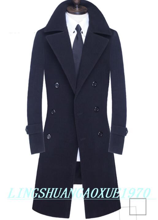 Adolescente homens trench coats double breasted casaco de lã ocasional sobretudo negócio casaco de caxemira dos homens inglaterra cáqui cinza preto S-9XL