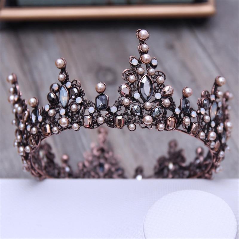 Tiaras y coronas barrocas redondas negras de cristal Vintage, tocado para mujeres o hombres, accesorios de joyería para boda