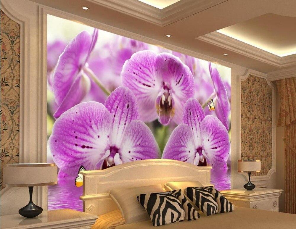 2016 романтическая фиолетовая бабочка Орхидея вода цветок мода фото настенные фрески обои украшение дома