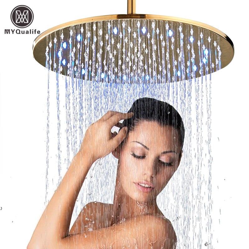 Chuveiro de ouro led de 16 polegadas, chuveiro grande, cabeça de bronze led com chuveiro, braço de chuveiro, chuveiro redondo, torneira, acessório