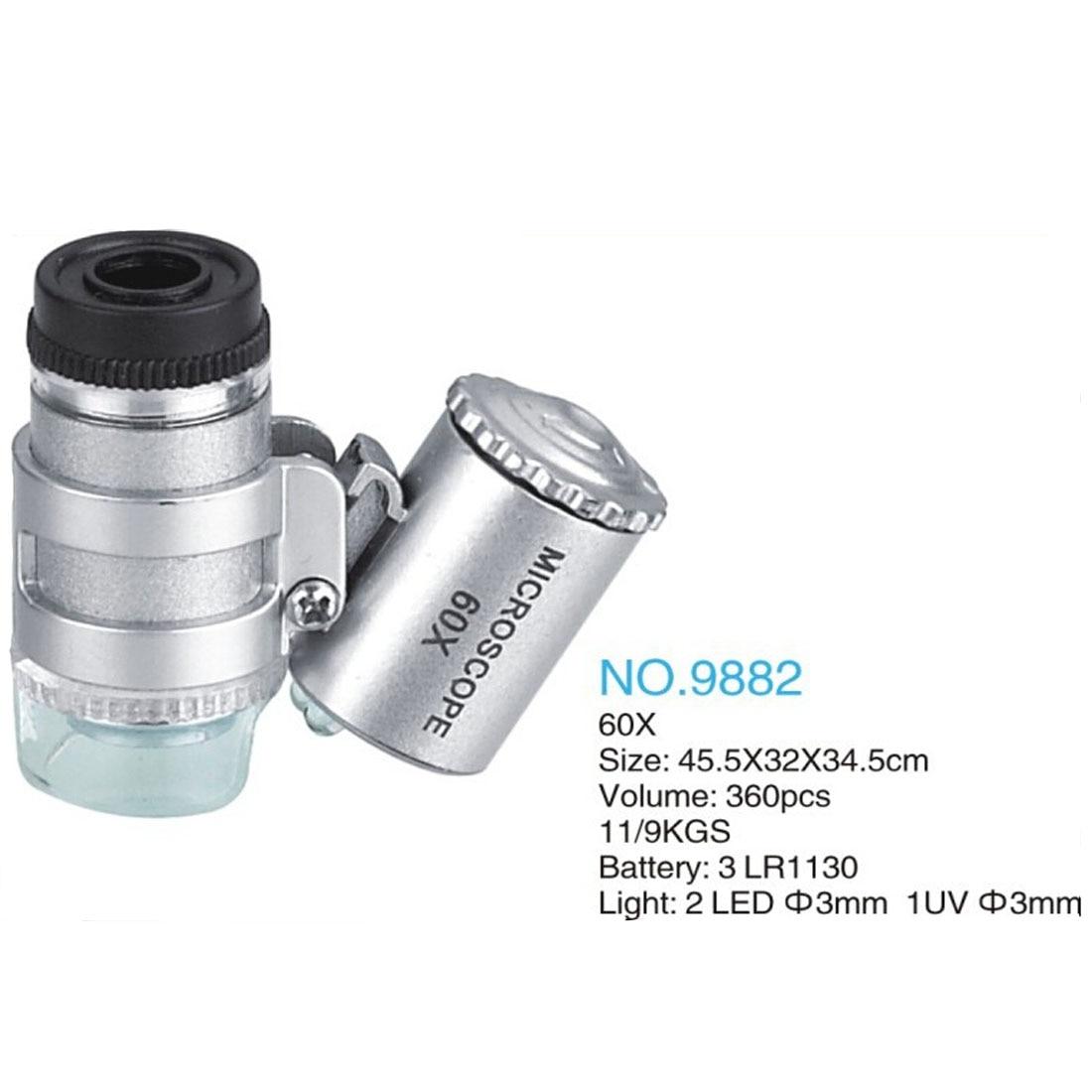 60X Mini Microscope Jeweler Loupe Lens Illuminated Magnifier Glass 3 LED With UV Light