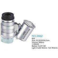 60X Mini Microscoop Juwelier Loep Lens Verlicht Vergrootglas Glas 3 Led Met Uv Licht