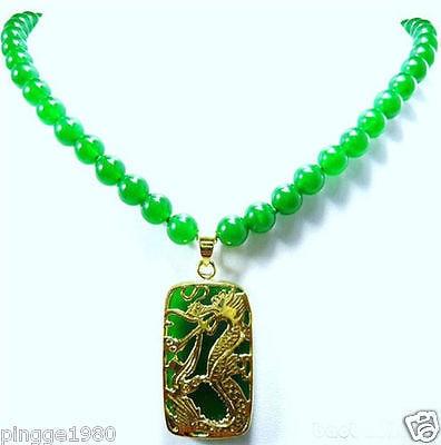 brinco brincos Hot sale  Shipping>>Green gem Bead Dragon Pendant Necklace for women jewelry mujer moda