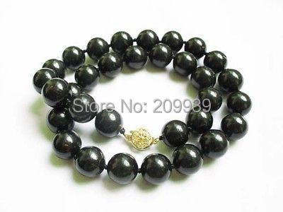 Huij 002770 collar natural negro coral 12 mm granos redondos