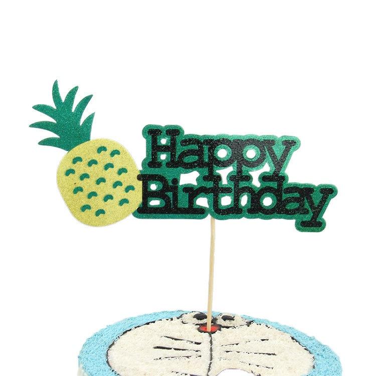 Bolo topper abacaxi feliz aniversário amor bolo topper cupake bandeiras casamento namorados decoração diy suprimentos crianças festa