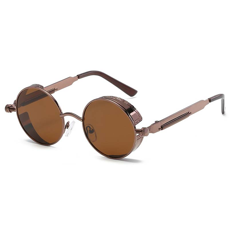 Reggaeon Rodada Steampunk Óculos Retro óculos de Sol Masculino Óculos de Sol Das Mulheres Dos Homens Gótico Do Punk Do Vapor Do Vintage Óculos De Sol marrom