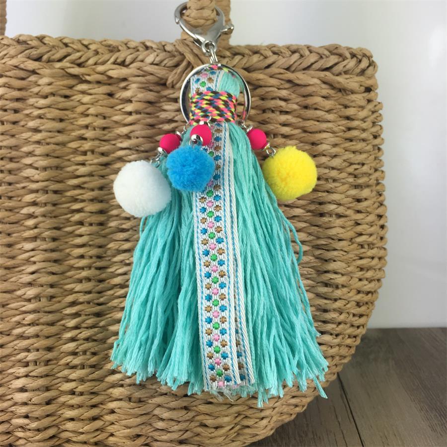 Handmade Tassel Multicolor Pompom Bohemian Bag Pendant Long Key chain Women Jewelry Keychain Boho Grass Bag Accessories