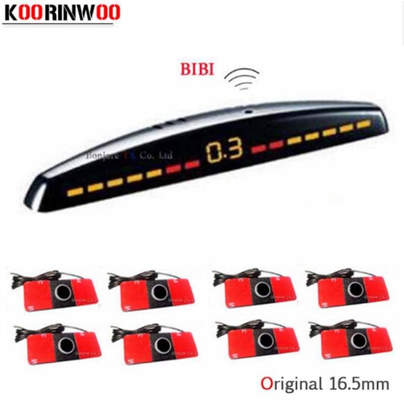 Koorinwoo LCD شاشة سيارة وقوف السيارات الاستشعار 8 الجبهة/عودة رادارات رصد السيارات باركترونيك مجسات وقوف السيارات مساعدة كاشف