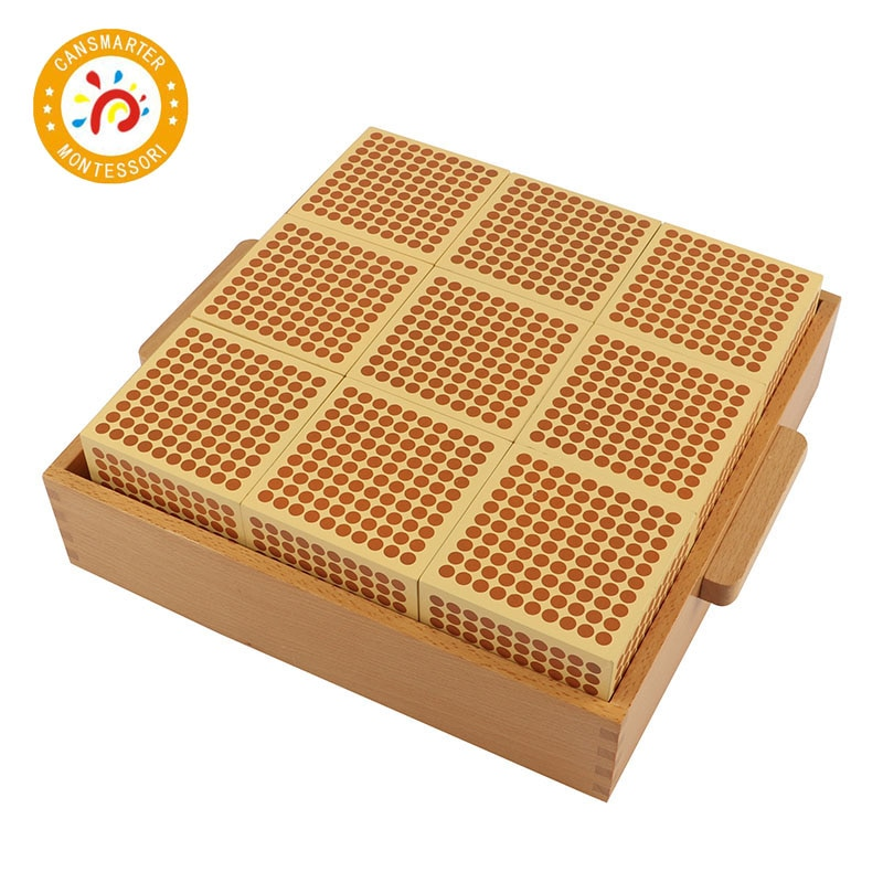 Montessori Baby Toy 9 Wood Thousand Cubes Maths Training Preschool Early Learning Kids Toys new wooden baby toys montessori wood fractional frame learning educational preschool training baby gifts