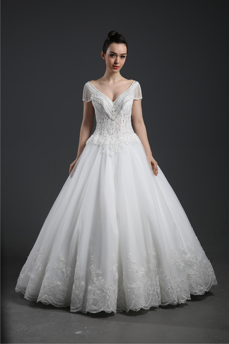A Line V neck Tulle Cap Sleeve Pearl beading Lace Applique Floor length Bridal Gown Wedding Dress