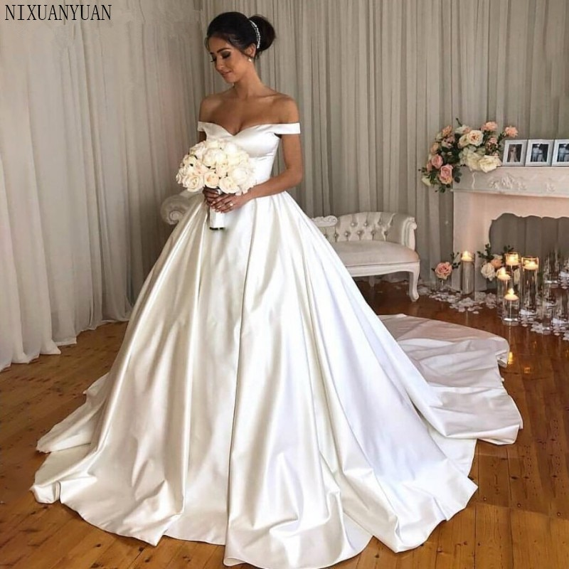 Blanco vestido De boda vestidos 2021 fuera del hombro cuello en V...