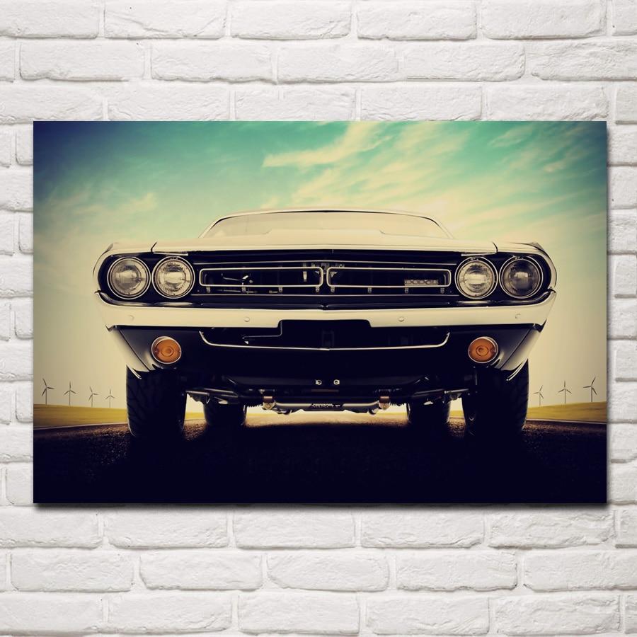 1970 cargador retro cool muscle Vista frontal del coche KC221 sala de estar hogar pared arte moderno decoración marco de madera y tela carteles
