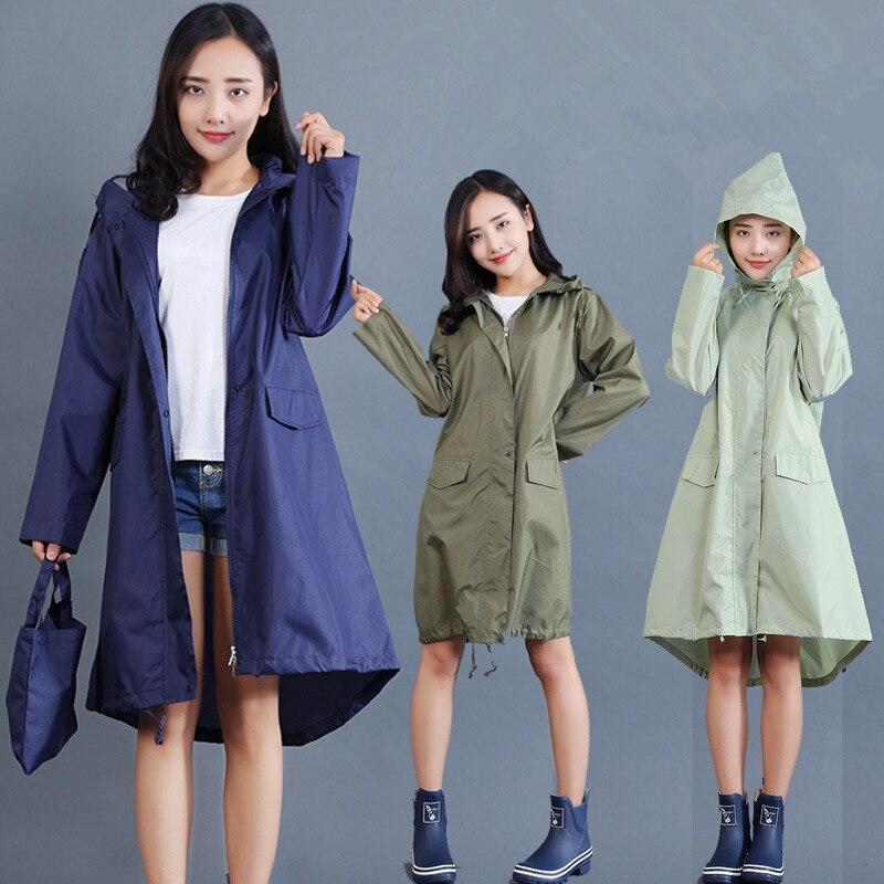 Chubasquero De poliéster para Mujer, Impermeable, largo, ligero para Mujer, Ponchos De abrigo, chaqueta con capucha, Impermeable para Mujer, Capa De Chuva
